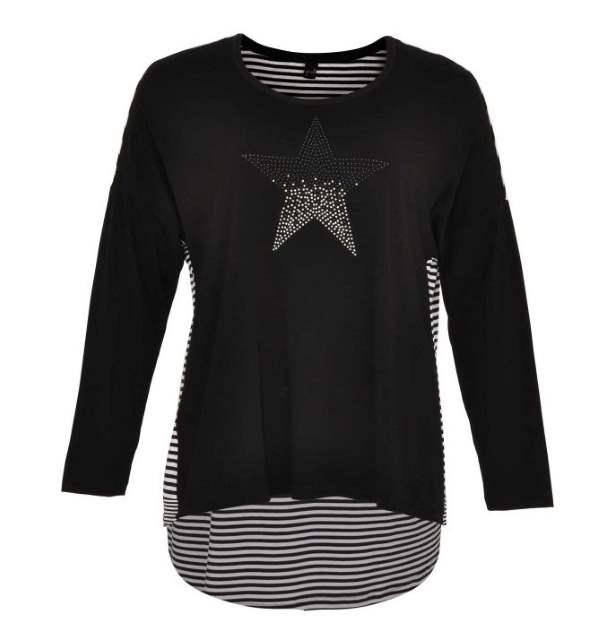 Yoek Shirt weit Strass Stern