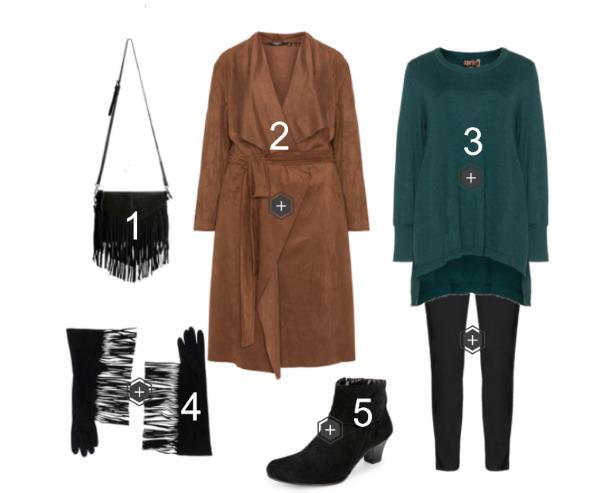ea5d2f01dde8 Style Ideen  Komplettes Outfit mit Mantel und Fransen-Accessoires ...